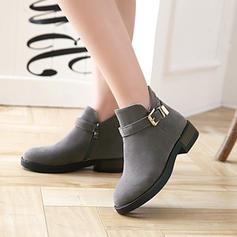 Frauen Veloursleder Stämmiger Absatz Absatzschuhe Stiefel Stiefelette mit Reißverschluss Schuhe