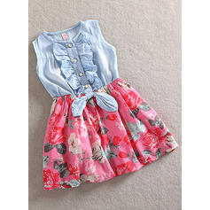 Girls Round Neck Floral Print Ruffles Casual Cute Dress