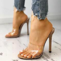 Women's PVC Stiletto Heel Sandals Peep Toe Slingbacks shoes