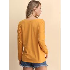 Blok Kolorów lampart Dekolt w kształcie litery V Długie rękawy Casual T-shirty