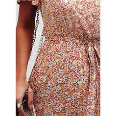 Print Short Sleeves A-line Knee Length Casual Skater Dresses