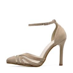 Bayanlar Süet ağ Topuklu ayakkabı Pompalar Kapalı Toe Ile Toka ayakkabı