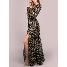 Leopard Lange Ärmel Shift Freizeit/Urlaub Maxi Kleider