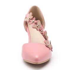 Women's Leatherette Stiletto Heel Sandals Pumps Closed Toe With Rivet Flower shoes