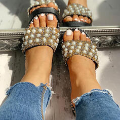 Women's PVC Flat Heel Slippers With Rhinestone Imitation Pearl shoes