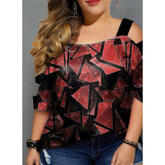 Print Cold Shoulder 3/4 Sleeves Casual Plus Size Blouses