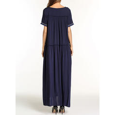 Solid Short Sleeves Shift Maxi Dresses
