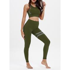 Gola V Sem mangas Bloco de cores Leggings Esportivas Sutiãs esportivos Yoga Sets