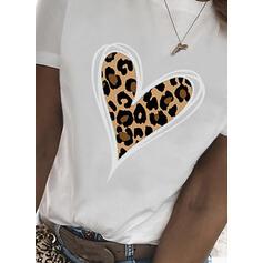 leopard Inima Tisk Kulatý Výstřih Krátké rukávy Tricouri