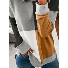 Колірний блок Кругла шия Довгі рукави Світшорт