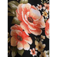 Estampado Floral Renda Decote em V Sem Mangas Sexy Tamanho positivo Camisetas regata