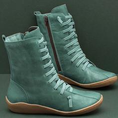 Frauen PU Niederiger Absatz Stiefel mit Reißverschluss Zuschnüren Schuhe
