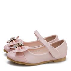 Mädchens Leder Lackleder Flache Ferse Round Toe Geschlossene Zehe Flache Schuhe Blumenmädchen Schuhe mit Bowknot Klettverschluss
