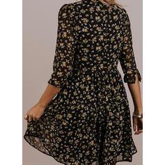 Impresión/Floral Mangas 3/4 Acampanado Hasta la Rodilla Casual/Elegante Vestidos