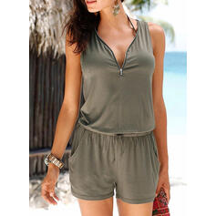 Solid V-Neck Sleeveless Casual Vacation Romper