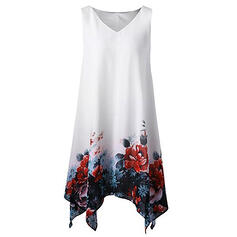 Estampado/Floral Sem mangas Shift Comprimento do joelho Casual/Elegante/Tamanho positivo Vestidos