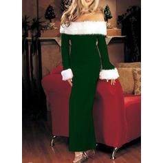 Χρωματιστό Μπλοκ Μακρυμάνικο Μεσάτο Μίντι Χριστούγεννα/Πάρτι Сукні