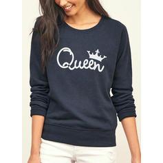 Women's Polyester Print Letter Christmas Sweatshirt