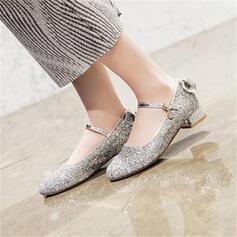 Kvinder Mousserende Glitter Stor Hæl Pumps Mary Jane med Bowknot sko