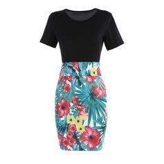 Estampado/Floral Manga Curta Bodycon Comprimento do joelho Casual/Elegante/Tamanho positivo Vestidos