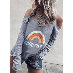 Print Cold Shoulder Long Sleeves Casual T-shirts