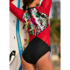 Floral Splice color Round Neck Sports One-piece Swimsuits