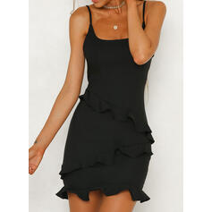 Solid Sleeveless Sheath Above Knee Little Black/Casual/Vacation Slip Dresses