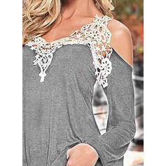 Solid Lace Cold Shoulder Long Sleeves Tank Tops
