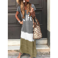 Print/Color Block Short Sleeves Shift T-shirt Casual Maxi Dresses