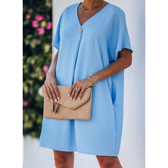 Solid Short Sleeves Shift Above Knee Casual/Vacation Tunic Dresses