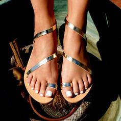 Femmes Similicuir Talon plat Sandales Chaussures plates avec Ouvertes chaussures