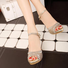 Mulheres Couro Salto agulha Sandálias com Espumante Glitter Fivela sapatos