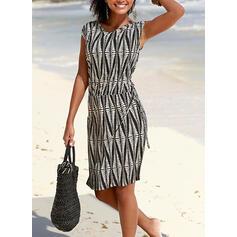 Print Sleeveless Sheath Knee Length Casual/Vacation Dresses