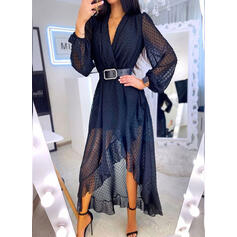 Solid Long Sleeves A-line Asymmetrical Casual Skater Dresses