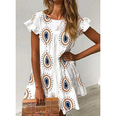 Print Short Sleeves/Flare Sleeves A-line Above Knee Casual/Boho/Vacation Skater Dresses