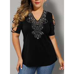 Print Sequins V-Neck 1/2 Sleeves Casual Plus Size Blouses