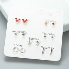 Con estilo En forma de corazón Aleación Diamantes de imitación con Rhinestone Pendientes (Juego de 6 pares)