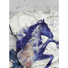 Animal-Print Rundhalsausschnitt Kurze Ärmel Freizeit T-shirts