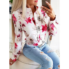 Print Floral Stand collar Long Sleeves Button Up Casual Blouses