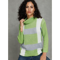 Color Block Turtleneck Sweaters