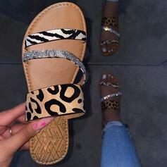 Femmes Similicuir Talon plat Sandales Chaussons avec La copie Animale Couleur d'épissure chaussures