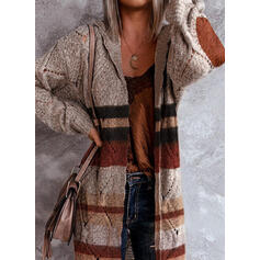 Color Block Striped Hooded Casual Long Cardigan