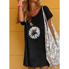 Floral/Animal Print Short Sleeves Shift Above Knee Casual T-shirt Dresses