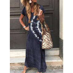 Print Short Sleeves Shift T-shirt Casual/Vacation Maxi Dresses