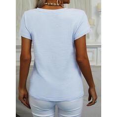 Einfarbig V-Ausschnitt Kurze Ärmel Freizeit Basic T-shirts