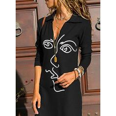 Print Long Sleeves Sheath Knee Length Casual Dresses