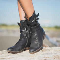 Women's PU Low Heel Boots With Buckle Zipper Lace-up shoes
