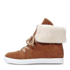 Femmes Suède Talon plat Bout fermé Bottes Bottes mi-mollets Bottes neige Martin bottes avec Dentelle chaussures