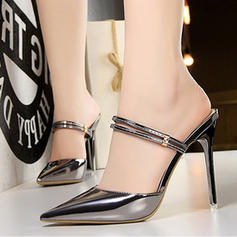 Women's Patent Leather Stiletto Heel Sandals Pumps Closed Toe shoes