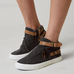 Mulheres Lona Sem salto Sem salto Fechados Botas com Fivela sapatos